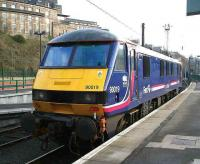 EWS 90019 stabled at Waverley on 4 February 2007. The locomotive is one of a dedicated pool of 5 EWS locomotives in First ScotRail livery for use on the Caledonian Sleeper services between Edinburgh/Glasgow and London.<br><br>[John Furnevel&nbsp;04/02/2007]