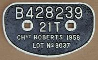 <b>Wagon plate </b> from Chas. Roberts wagon at Arnott Young, Dalmuir for breaking.<br><br>[Alistair MacKenzie&nbsp;01/02/1980]