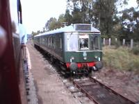 Green DMU stabled in the refuge siding.<br><br>[Brian Forbes&nbsp;/09/2006]