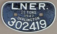 <b>LNER 21T</b> wagon plate from Darlington wagon 302419 at Arnott Young, Dalmuir for breaking.<br><br>[Alistair MacKenzie&nbsp;08/02/1980]
