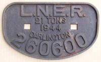 <B>LNER 21T</B> wagon plate from Darlington wagon 260600 at Arnott Young, Dalmuir for breaking.<br><br>[Alistair MacKenzie&nbsp;01/10/1980]