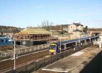 A Dundee - Edinburgh train calls at Markinch on 6 February 2007, with work on the new interchange in full swing.<br><br>[John Furnevel&nbsp;06/02/2007]