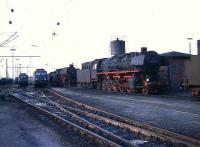 Steam and electric locomotives at Rheine shed in 1976.<br><br>[John McIntyre&nbsp;//1976]