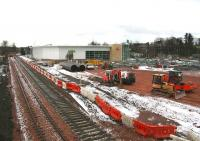 The under construction Alloa station on 8 February 2007 with much work currently in progress on the car park and approach roads.<br><br>[John Furnevel&nbsp;08/02/2007]