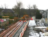 Finishing off sleeper laying at Alloa on 8 February at what will be the location of the buffer stops.<br><br>[John Furnevel&nbsp;08/02/2007]