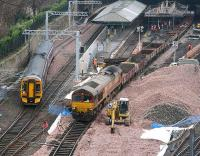 A PW train with a class 66 locomotive at each end pulls away from platform 17 on 9 February 2007, just as a westbound service leaves platform 20.<br><br>[John Furnevel&nbsp;09/02/2007]