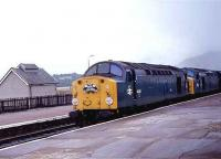A pair of class 40s bring a special through Kingussie in October 1983.<br><br>[Roy Lambeth&nbsp;/10/1983]