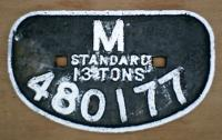 <b>M</b>idland Railway condemned wagon plate from 13T no. 480177. at Arnott Young breakers Dalmuir.<br><br>[Alistair MacKenzie&nbsp;28/08/1980]