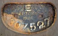 <b>E</b>astern Railway condemned wagon plate 1948 21T no. 307527, at Arnott Young, breakers Dalmuir.<br><br>[Alistair MacKenzie&nbsp;27/02/1980]