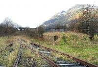 Railway remains at Menstrie in February 2007. Looking back from the sidings towards the site of the former station.<br><br>[John Furnevel&nbsp;04/02/2007]