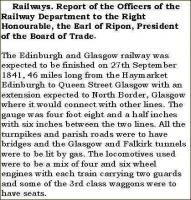 Copy of an extract from a report to the President of the Board of Trade regarding the proposed opening of the Edinburgh and Glasgow Railway.<br><br>[John Furnevel&nbsp;//1841]