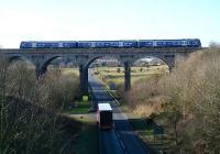 A southbound service crossing Markinch Viaduct in February 2007.<br><br>[John Furnevel&nbsp;06/02/2007]