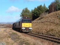 67005 <I>Queens Messenger</I>, in Royal Train livery, is pictured going south with a ten van train between Newtonmore and Dalwhinnie. <br><br>[John Gray&nbsp;14/02/2007]