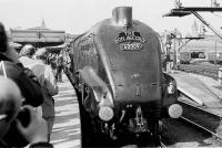60009 <I>Union of South Africa</I> poses at Aberdeen in 1973 with <I>The Bon Accord</I>.<br><br>[Bill Roberton&nbsp;//1973]