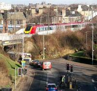 A Westbound Virgin Voyager about to cross the bridge over Slateford Road, Edinburgh in January 2007 heading for Carstairs and the WCML. <br><br>[John Furnevel&nbsp;/01/2007]