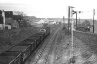 Class 40 with a northbound coal train passing the site of Cove station on 07 December 1974.<br><br>[John McIntyre&nbsp;07/12/1974]