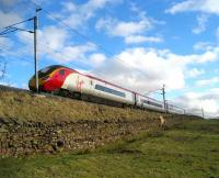 Pendolino climbing Shap on 18 February passing Scout Green on the northbound ascent.<br><br>[John McIntyre&nbsp;18/02/2007]