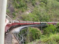Crossing Stoney Creek Falls on the Kuranda Scenic Railway. This 3ft 6in railway runs inland from Cairns to Kuranda; the 41km journey taking 90 minutes. Makes the West Highland look like a TGV route...<br><br>[Paul D Kerr&nbsp;19/01/2007]