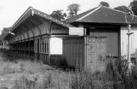 Melrose 1975. Station building on the down platform - almost overshadowed by the magnificent <I>Gents</I> (now located at Bewdley station on the Severn Valley Railway).<br><br>[Bill Roberton //1975]