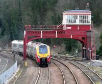 A diverted Voyager eastbound past Hexham signal box on 26 February 2007. The diversions were necessary following the WCML Pendolino derailment at Grayrigg.  <br><br>[John Furnevel&nbsp;26/02/2007]