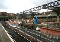 Looking out over the west end platforms at Waverley on 3 March with the canopy over 15 & 16 now stripped down to the framework. <br><br>[John Furnevel&nbsp;3/03/2007]
