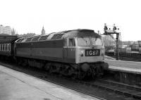 Class 47 1968 takes a train south out of Aberdeen on 26 May 1973. <br><br>[John McIntyre&nbsp;26/05/1973]