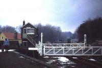 Looking west over the level crossing from Bedale station in 1982.<br><br>[John McIntyre&nbsp;/02/1982]