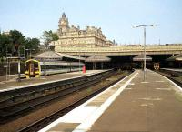 West end of Waverley in July 1991 with 158706 on the left and more Class 158s hiding on under the station canopy.<br><br>[John McIntyre&nbsp;06/07/1991]