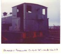 Andrew Barclay 0-4-0 loco n. 23. National Coal Board at Cardowan colliery, Stepps near Glasgow.<br><br>[Alistair MacKenzie 28/11/1981]