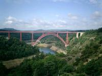 <B>Garabit Rail</B> Viaduct built 1882-1884 designed by M. Eiffel of tower fame who designed some 150 rail bridges worldwide. It carried the Paris (Gare d'Orsay) to South-West France railway (Cie du Midi) over the River Truyere.<br><br>[Alistair MacKenzie&nbsp;//]