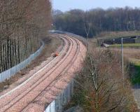 Preparations for signal instalation at Alloa West Bridge looking East on 26 March.<br><br>[Brian Forbes&nbsp;26/03/2007]