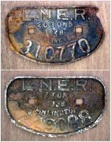 LNER Darlington wagon plates of 1938 and 1948.<br><br>[Alistair MacKenzie&nbsp;01/11/1980]