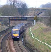 Express for Edinburgh rounds the curve at Muirhead north of Markinch.<br><br>[Brian Forbes&nbsp;30/03/2007]