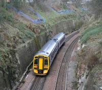 An Edinburgh - Bathgate train approaching Craiglockhart on 31 March, having been diverted around the <I>sub</I> from Waverley due to engineering works.<br><br>[John Furnevel&nbsp;31/03/2007]