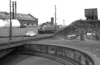 Looking across the turntable at Ferryhill MPD, 03 June 1973, with the coaling stage road up on the right.<br><br>[John McIntyre&nbsp;03/06/1973]