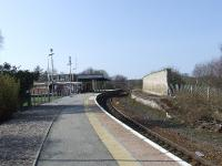 Forres Station, buildings and disused platform, looking west. <br><br>[Graham Morgan&nbsp;31/03/2007]