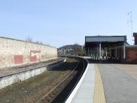 Forres Station and buildings, looking east. <br><br>[Graham Morgan&nbsp;31/03/2007]