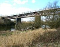 View of Westburn Viaduct from the north bank of the Clyde at Carmyle in April 2007. The signal box which once stood at the south end controlled Westburn Junction where the L&A spur from Kirkhill joined the GCR line from Newton to make the crossing.   <br><br>[John Furnevel&nbsp;08/04/2007]