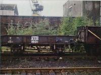 <B>GWR 14t</B> wagon at Arnott Young, Dalmuir for breaking. Wagon number 80194 has DW prefix.<br><br>[Alistair MacKenzie&nbsp;25/09/1981]