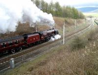 6233 <i>Duchess of Sutherland</i> north of Grayrigg on 9 April with <I>The Great Britain</I> railtour heading for Glasgow.<br><br>[John McIntyre&nbsp;9/04/2007]