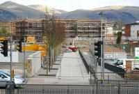 A tree-lined avenue now forming part of the pedestrian access to the new Alloa station on 10 April as construction work goes on all around.<br><br>[John Furnevel&nbsp;10/04/2007]