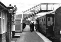 Boarding a northbound train at Grantown-on-Spey East in April 1961. (Old family photograph).<br><br>[Craig Seath Collection&nbsp;15/04/1961]