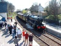 Helmsdale Station sees its biggest crowd in years as <I>The Great Britain</I> special rolls in behind 48151.<br><br>[John Gray&nbsp;12/04/2007]