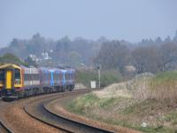 Unique pairing, SWT 158789 and <i>Commonwealth Games</i> 170460 heading north for Inverness passing Gleneagles.<br><br>[Brian Forbes&nbsp;14/04/2007]