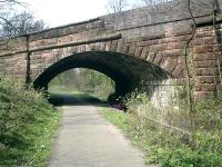 Caledonian Railway Lanarkshire and Dumbartonshire line, bridge carrying Glasgow/Dumbarton Road. The stonework has been patched with brick over the years where vehicles have crashed through.<br><br>[Alistair MacKenzie&nbsp;13/04/2007]