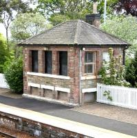 The old stone signal box on the up platform at Aberdour in May 2005.<br><br>[John Furnevel&nbsp;05/05/2005]