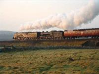 The sun lights up 60009 & 61994 as they leave Tomatin with <I>The Great Britain</I> and head for Findhorn Viaduct.<br><br>[John Gray&nbsp;14/04/2007]