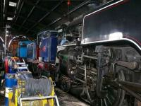 Three tank engines under repair within the loco shed at Boness.<br><br>[Brian Forbes&nbsp;07/04/2007]