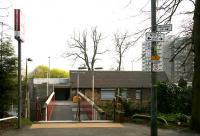 The south entrance to Cambuslang station on 15 April 2007, with the rear of the station building on the far side of the footbridge spanning the line. <br><br>[John Furnevel&nbsp;15/04/2007]