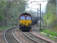 66216 and loaded coal wagons with a service bound for Longannet<br><br>[Graham Morgan&nbsp;17/04/2007]